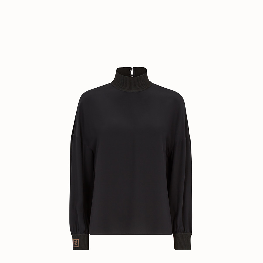 Shirt - Black crêpe de Chine blouse