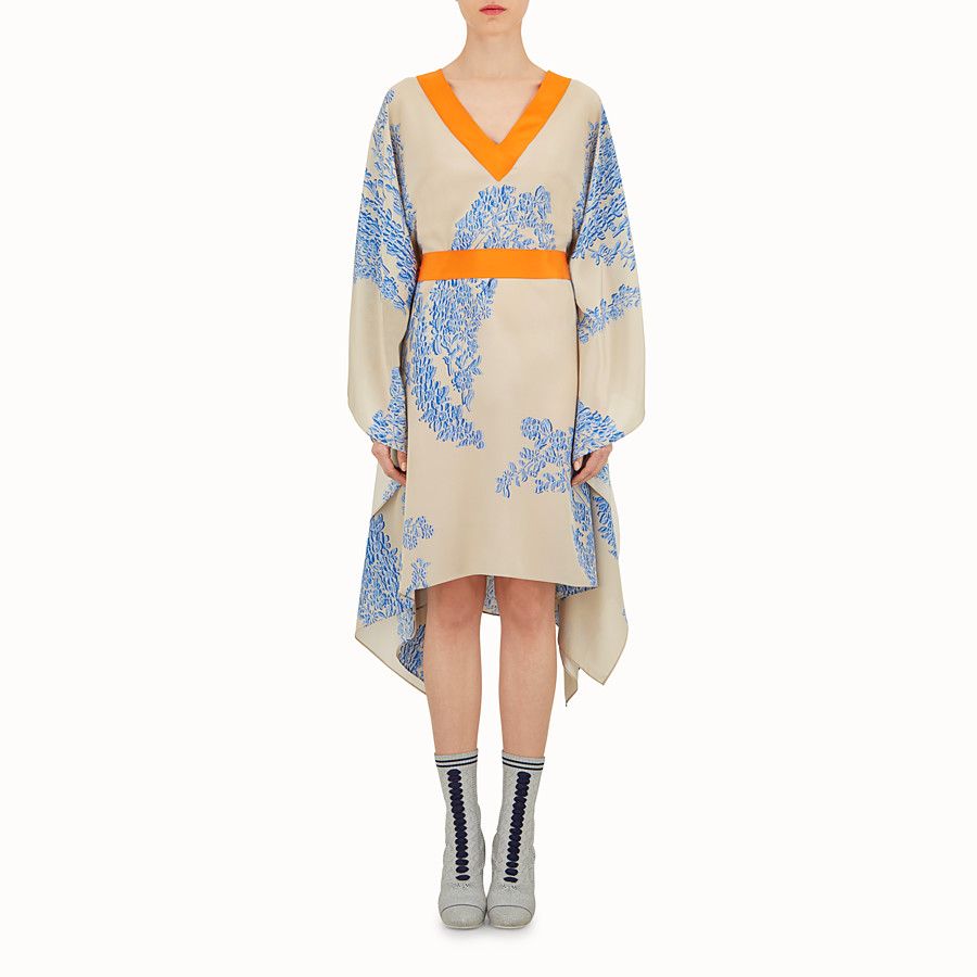 Long Kaftan - Beige and light blue silk dress