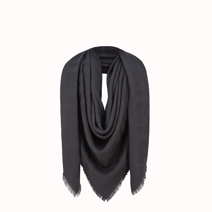Ff Shawl - Black wool and cashmere shawl