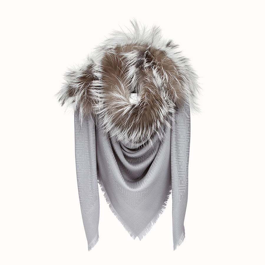 Touch Of Fur Shawl - Shawl in silk, wool and fur