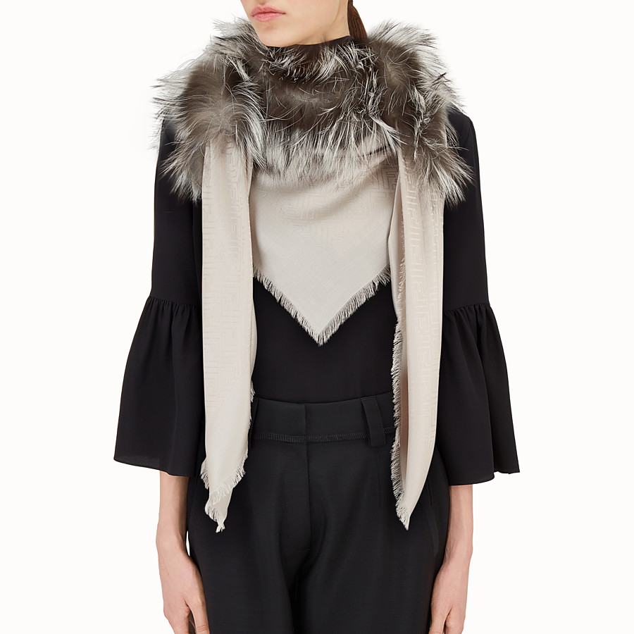 Touch Of Fur Shawl - Shawl in beige silk and wool