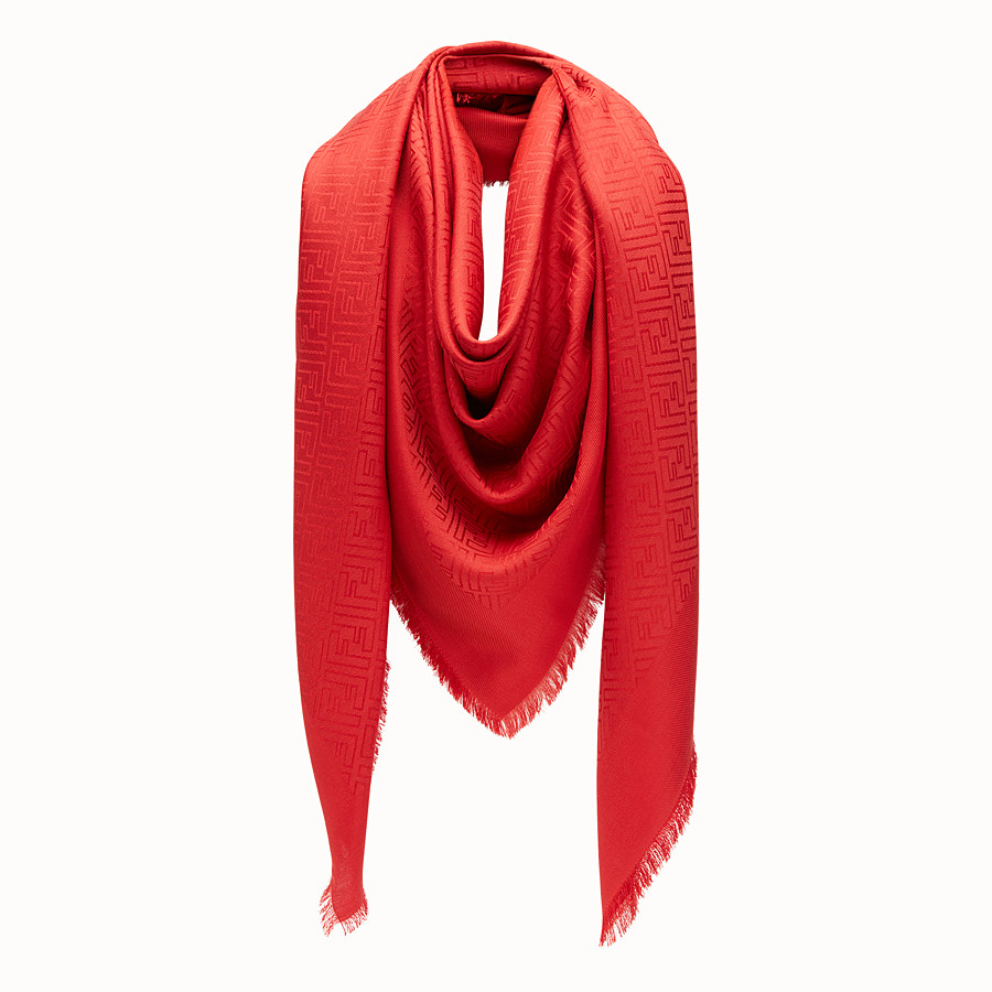 Ff Shawl - in dark red jacquard silk and wool