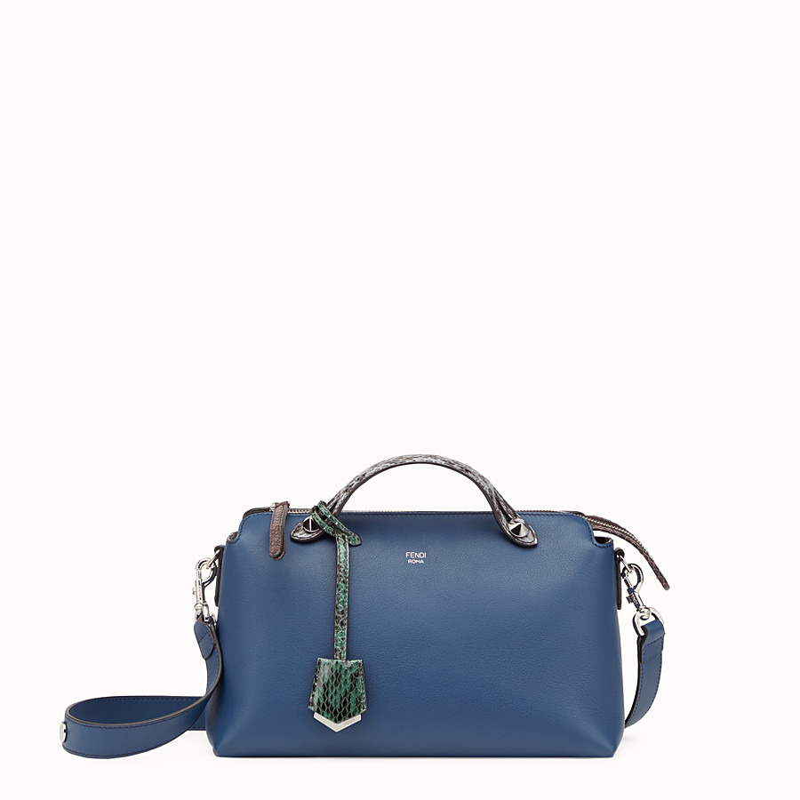 By The Way Regular - Small blue leather Boston bag