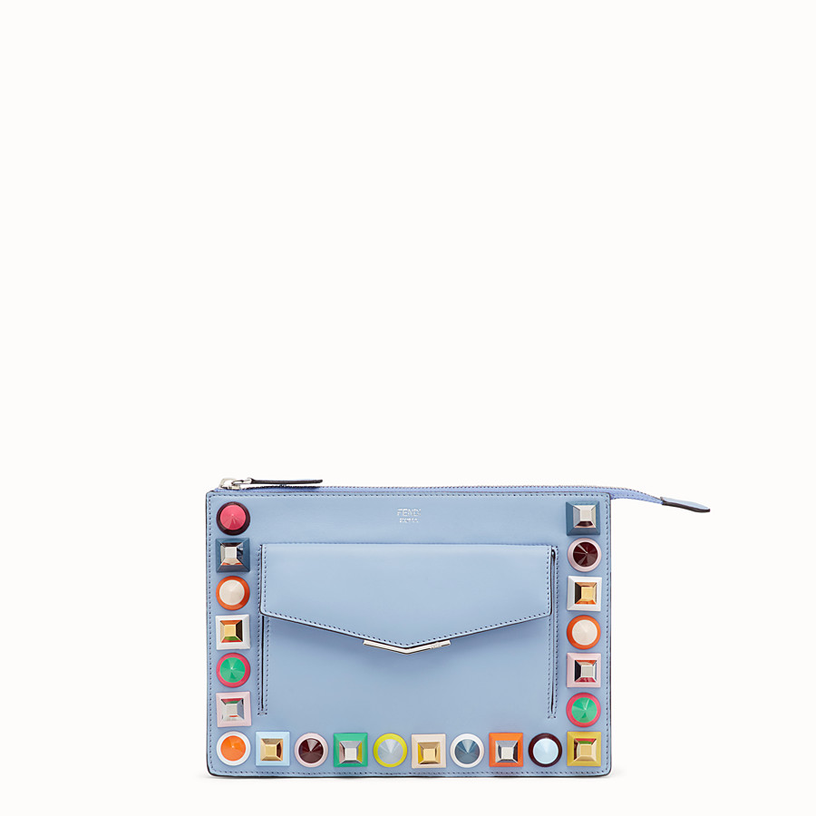 Mini Pouch - Light blue leather mini-bag