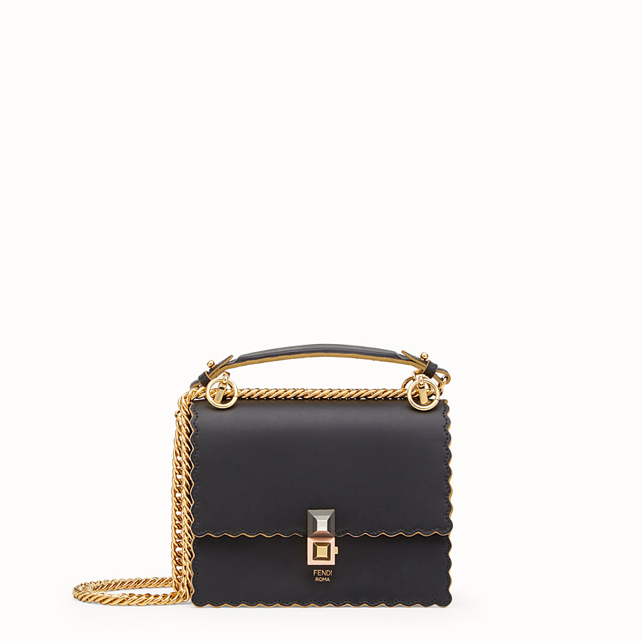 Kan I Small - Black leather mini bag